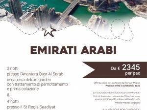 Emirati arabi    7 notti da € 2345   prenota entro il 15 febbraio 2020